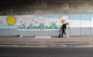 Mural depicting the raingardens